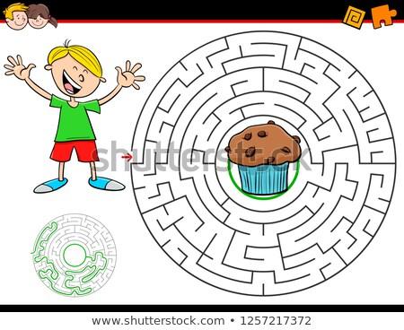 Rajz labirintus játék fiú muffin illusztráció Stock fotó © izakowski