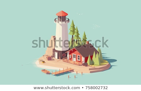 Fisherman on Sandy Shore, Vector Illustration Stock photo © robuart