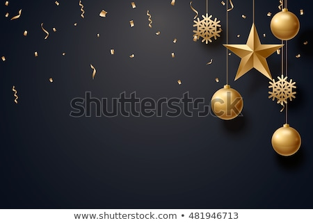 2019 Christmas and New Year background with black christmas ball and red bow for xmas design. Vector Stock photo © olehsvetiukha