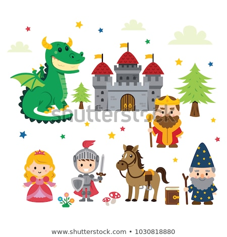 Medieval set with knight and dragon Stock photo © colematt