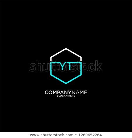 логотип икона письме черный cyan символ Сток-фото © blaskorizov