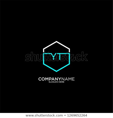 Logotipo ícone carta preto ciano símbolo Foto stock © blaskorizov