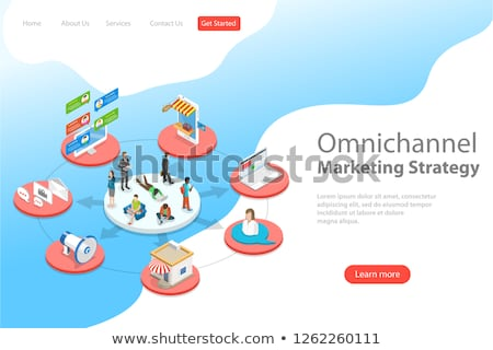 Isometric flat vector landing page template of omnichannel. Stock photo © TarikVision