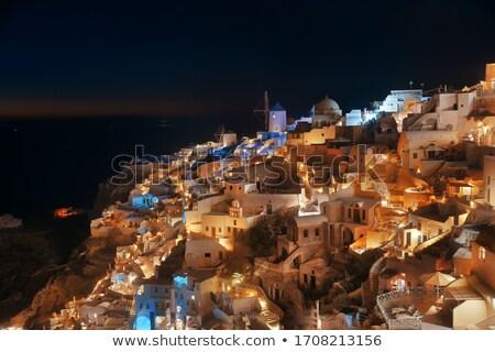város · Santorini · sziget · Görögország · éjszaka · kövek - stock fotó © magann