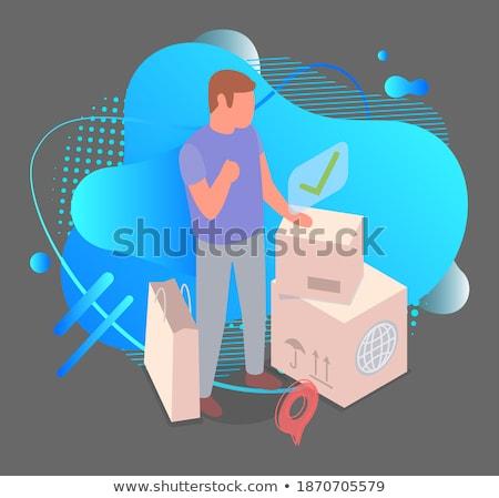 online · étel · vektor · kezek · futár · vásárló - stock fotó © tarikvision