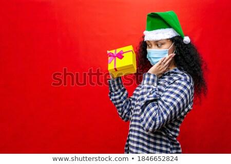 kép · örömteli · nő · 20-as · évek · visel · piros - stock fotó © deandrobot