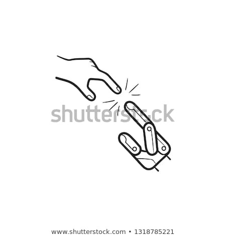 Artificial robot hand touching human hand hand drawn outline doodle icon. Stock photo © RAStudio