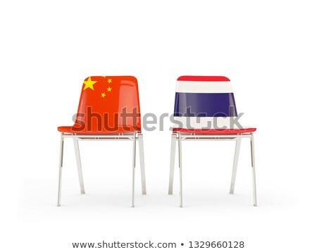 Iki sandalye bayraklar Çin Tayland yalıtılmış Stok fotoğraf © MikhailMishchenko