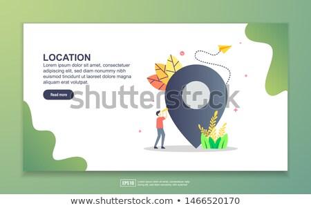 isometric flat vector landing page template of digital marketing expert stock photo © tarikvision