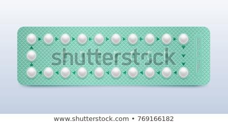 Stock fotó: Realistic Female Oral Contraceptive Pills Vector
