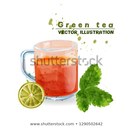 zöld · tea · címke · fehér · csésze · tele · levelek - stock fotó © frimufilms