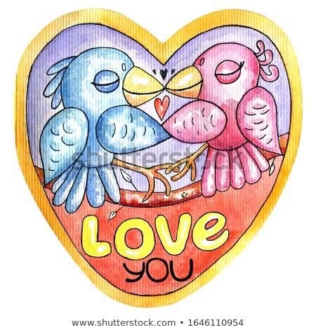 Cute Blue Bird Cartoon Character Holding A Love Heart Stock photo © hittoon