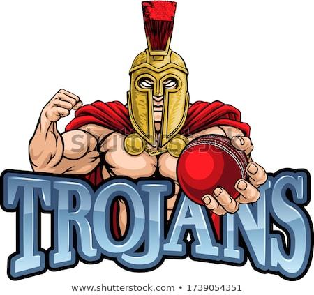 Spartaans trojaans cricket sport mascotte krijger Stockfoto © Krisdog