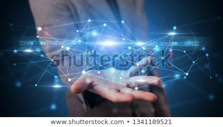személy · tart · háló · hologram · jóképű · képernyő - stock fotó © ra2studio