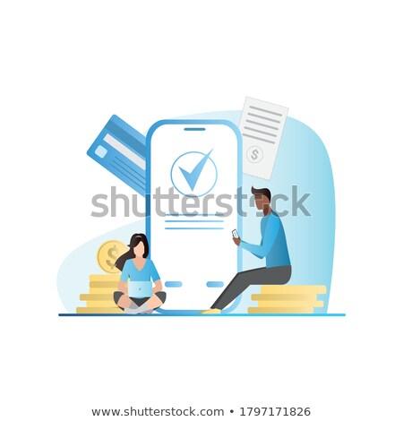 Tranzakció biztonság emberek bank munkások laptopok Stock fotó © robuart