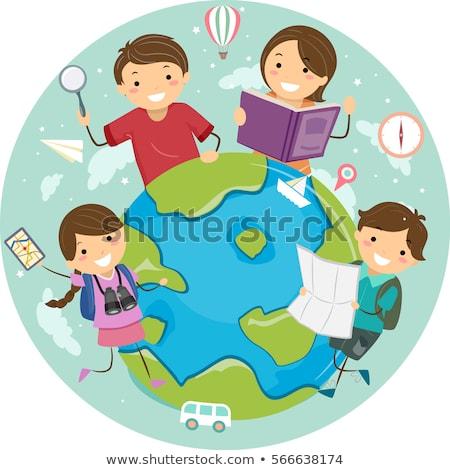 Kid Girl Stickman Globe Navigator Illustration Stock photo © lenm