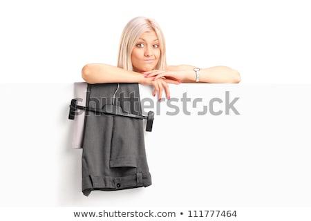 Gelukkig meisje achter dressing omhoog paneel lachend Stockfoto © nyul