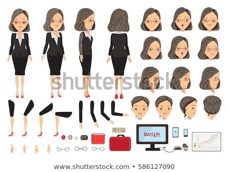 Stock photo: flat type glasses office women_money