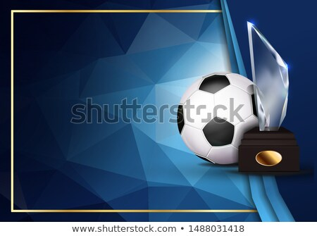 Soccer Certificate Diploma With Glass Trophy Vector. Football. Sport Award Template. Achievement Des Stock photo © pikepicture