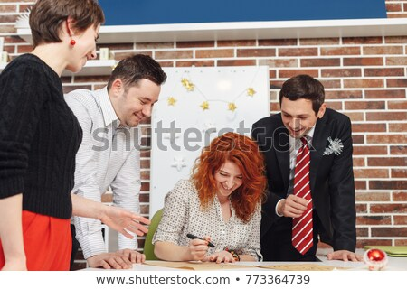 At letter with business woman and man. Stock photo © lichtmeister