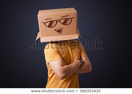 man with smiling carton box head stock photo © ra2studio