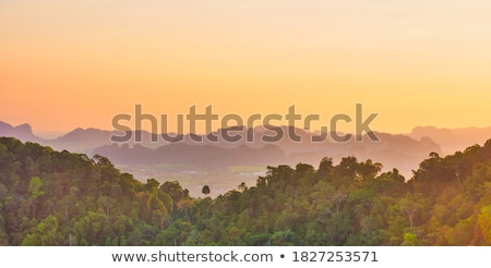 тропические пейзаж крутой гор закат красивой Сток-фото © vapi