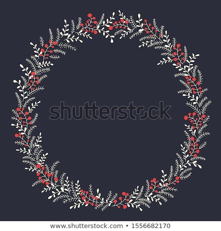 Christmas background of circular frame with pine branches and xmas balls. Handwritten text Merry Chr Stock photo © ikopylov
