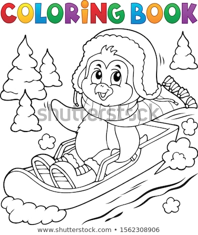 Coloring book penguin on bobsleigh 1 Stock photo © clairev