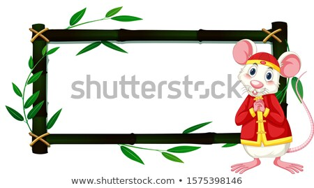 Border template with rat in chinese costume and bamboo frame Stock photo © bluering