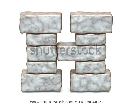 Rock masonry font letter H 3D Stock photo © djmilic