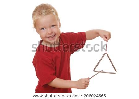 Dziewczyna gry trójkąt biały ilustracja muzyki Zdjęcia stock © bluering