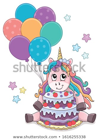 Unicorn with cake and balloons theme 1 Stock photo © clairev