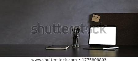 Dizayn modern Çalışma alanı ev dizüstü bilgisayar mavi Stok fotoğraf © dashapetrenko