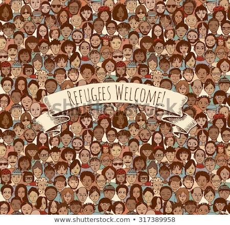 Immigratie vluchteling vector dun lijn Stockfoto © pikepicture