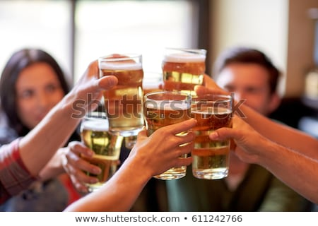Friends Meeting in Bar, People Drink Beer in Pub Stock photo © robuart
