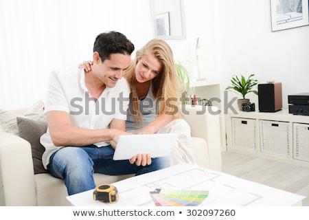 vrouw · tekeningen · huis · gebouw · vergadering · bouw - stockfoto © photography33