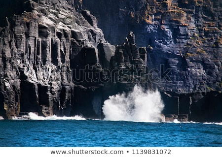 waves crashing on burren cliffs Stock photo © morrbyte