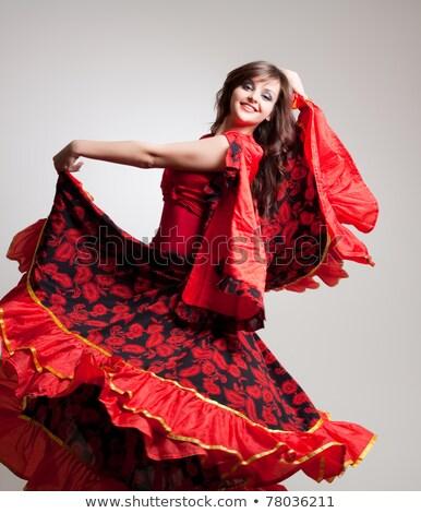 肖像 女性 フラメンコ 衣装 ボール 赤 ストックフォト © photography33