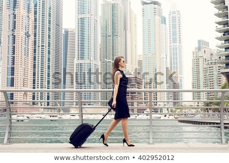 女性実業家 スーツケース 脚 高い ストッキング ハイヒール ストックフォト © ruigsantos
