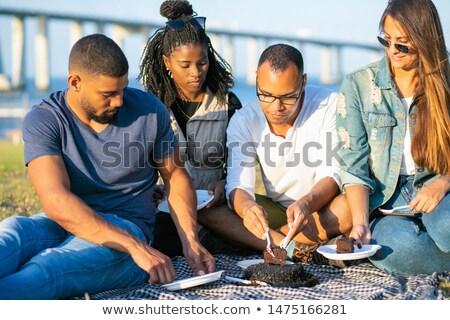 nő · férfi · darab · torta · család · étel - stock fotó © photography33
