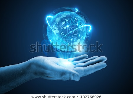 Hands Holding A Info Sphere Stockfoto © solarseven
