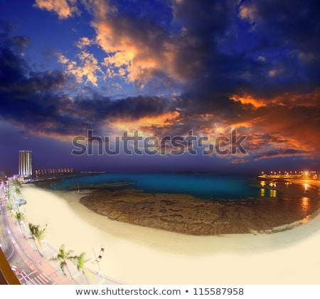 arrecife lanzarote sunset in reducto beach stock photo © lunamarina