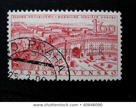 Posta bélyeg nyomtatott kép ipari város Stock fotó © Taigi