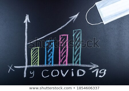 Recession written in chalk on a blackboard. Stock photo © latent