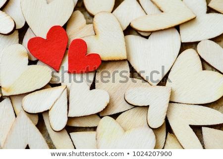 karácsony · dekoráció · fából · készült · szívek · textúra · szeretet - stock fotó © marimorena