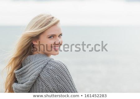 közelkép · portré · játékos · vonzó · lány · kötött · pulóver - stock fotó © andersonrise