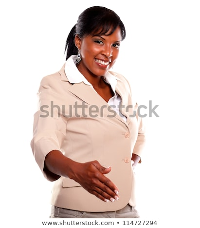 Attractive broker looking extended hand Stock photo © pablocalvog