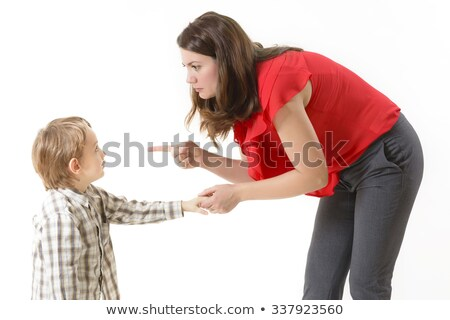 Mother scolding her son with pointed finger  Stock photo © dacasdo