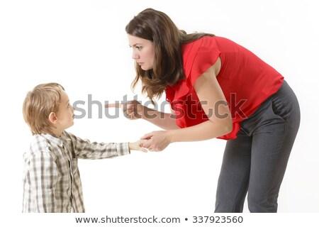 mãe · filho · dedo · família · assinar · menino - foto stock © dacasdo