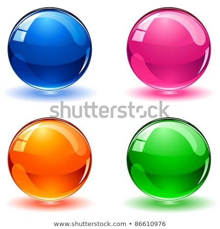 ストックフォト: ガラス状の · 3D · ボタン · 球 · 孤立した · 白